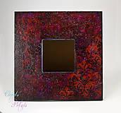 Zrkadlá - Zrkadlo červeno-fialové s damaškovým ornamentom - 6874297_