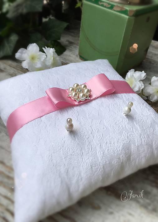Prstene - Svadobný vankúšik Pink - 6876737_