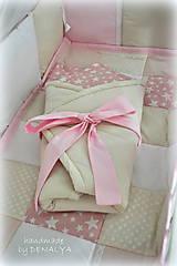 Textil - Zavinovačka s pevným viazaním Basic béžovo-ružová70x70cm - 6880787_