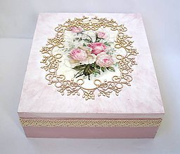 Krabičky - Krabica Ružičky vintage+ text - 6880522_