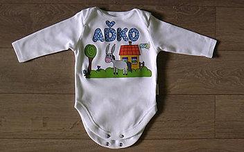 Detské oblečenie - Maľované body s menom Oslík - 6879377_
