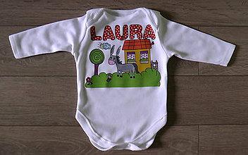 Detské oblečenie - Detské body s menom a oslíkom - 6879402_