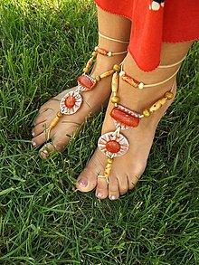 Iné šperky - sandále naboso + červený špongiový Koral - 6880629_