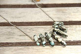 Náhrdelníky - Retiazka s minerálom jaspis a amazonit - 6878457_