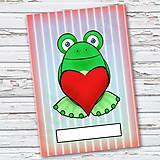 Papiernictvo - Žabí zápisník (pásiky (zamilovaná)) - 6879625_