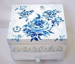 Krabičky - Šperkovnica Modrá ruža - 6882230_