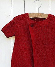 Detské oblečenie - Detský červený pletený svetrík - 6882468_
