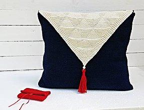Úžitkový textil - Pletený námornícky vankúš - 6882627_