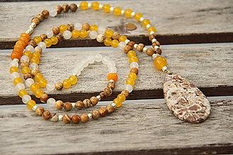 Náhrdelníky - Dlhý náhrdelník z minerálov jaspis a jadeit - 6881279_