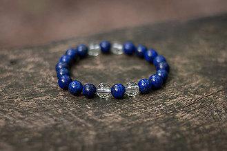 Náramky - náramok lapis lazuli s krištáľom - 6884799_