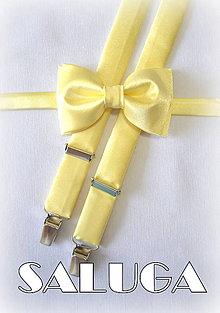 Detské doplnky - Detský motýlik + traky svetlo žltý set - 6884874_