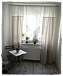 Úžitkový textil - Záves a záclonka v Natur šýle - 6883698_