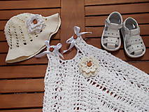 Detské súpravy - Biele šaty a klobúčik - 6884810_