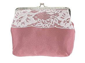 Kabelky - Dámská čipková kabelka bielo růžová 02L - 6888947_
