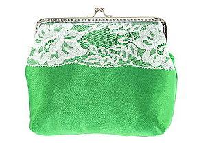Kabelky - Dámská čipková kabelka bielo zelená 08L - 6889235_