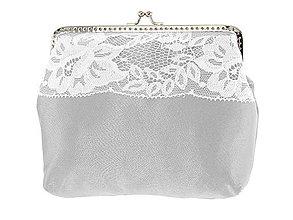 Kabelky - Dámská čipková kabelka bielo šedá 09L - 6889239_