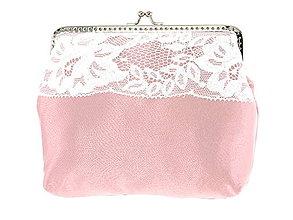 Kabelky - Dámská čipková kabelka bielo růžová 11L - 6889257_