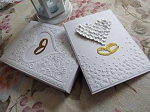 Papiernictvo - Pohľadnica svadobná - Obrúčky - 6888229_