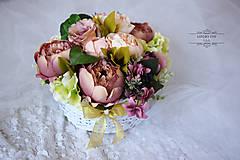 Kytice pre nevestu - kvetinový box PIVONKA - 6889335_