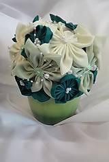 Dekorácie - Zelená látková ikebana v črepníku - 6888984_
