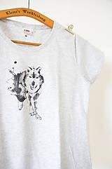 - Dámske tričko Vlk, šedý melír, M - 6886599_