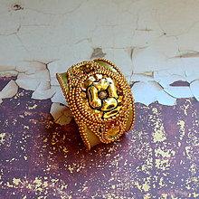 Náramky - Golden eye n.2 - vyšívaný náramek - 6886201_