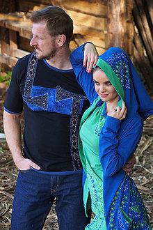 Tričká - Pánske tričko šité, farbené, maľované VALAŠTIČKY - 6887099_