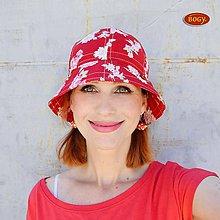 Čiapky - červený klobouk s květy, jaro/léto - 53/54cm - 6886959_