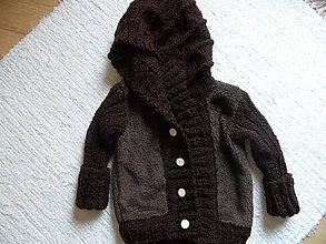 Detské oblečenie - kombinovaný svetrík s kapucňou - 6888621_