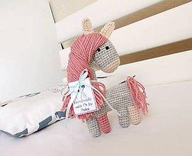 Hračky - Koníček sivý s ružovou hrivou - 6890768_