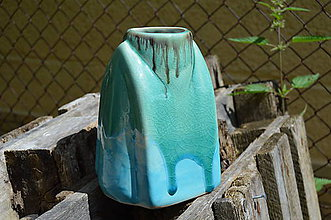 """Dekorácie - váza tyrkysová """"leto III"""" - 6890273_"""