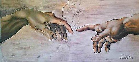 Obrazy - Michelangelo zrodenie Adama-reprodukcia - 6890028_