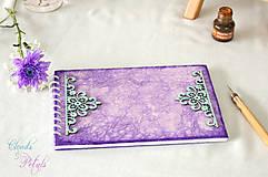 Papiernictvo - Fialová sada s mentolovou čipkou na vintage svadbu (album + kniha hostí) - 6889872_
