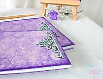 Papiernictvo - Fialová sada s mentolovou čipkou na vintage svadbu (album + kniha hostí) - 6889873_