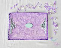 Papiernictvo - Fialová sada s mentolovou čipkou na vintage svadbu (album + kniha hostí) - 6889875_