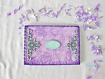 Papiernictvo - Fialová sada s mentolovou čipkou na vintage svadbu (album + kniha hostí) - 6889878_