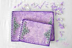 Papiernictvo - Fialová sada s mentolovou čipkou na vintage svadbu (album + kniha hostí) - 6889881_