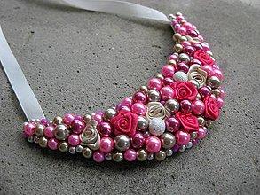 Náhrdelníky - FOR YOU perlový náhrdelník (neon pink and cream roses - náhrdelník č.504) - 6891058_