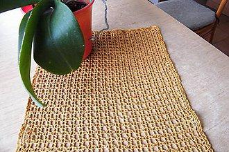 Úžitkový textil - Hnedý háčkovaný obdĺžnik - 6892606_