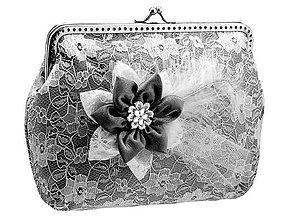 Kabelky - Čipková čierno bielá kabelka , dámská kabelka  128A - 6895892_