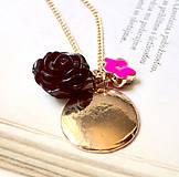 Náhrdelníky - Rose Flower & Gold / Obojstranný náhrdelník s príveskami - 6894175_