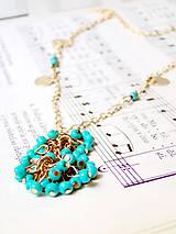 - Summer Time / Zlato-tyrkysový náhrdelník - 6894292_