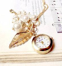 Náhrdelníky - Golden Leaf & Watches / Hodinky na retiazke - 6894127_