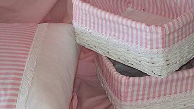 Košíky - Košík - Ružovkastý pásik - 6894330_