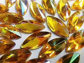 Galantéria - Ozdobné kamienky 7x15 mm - AB zlatá - 6894642_