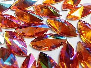 Galantéria - Ozdobné kamienky 7x15 mm - AB oranžové - 6895054_