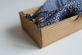 Doplnky - Set motýlik + vreckovka + manžetové gombíky- kvetinový - 6893352_
