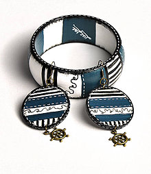 Sady šperkov - Náušky + náramok - Kormidlo - 6893715_