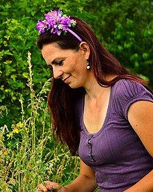 Ozdoby do vlasov - Čelenka-fialové kvietky - 6894886_