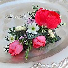 Ozdoby do vlasov - Štipec ruže ciklamén - 6893530_